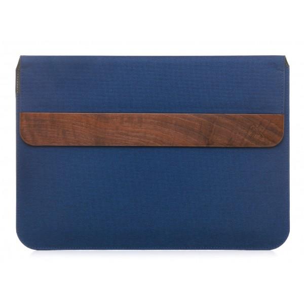 Woodcessories - Walnut / Blue Navy Leather / MacBook Bag - MacBook 11 Air - Eco Pouch Case - Wooden MacBook Bag