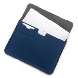 Woodcessories - Noce / Pelle Blu Navy / MacBook Cover - MacBook 11 Air - Custodia Eco Pouch - Borsa MacBook in Legno