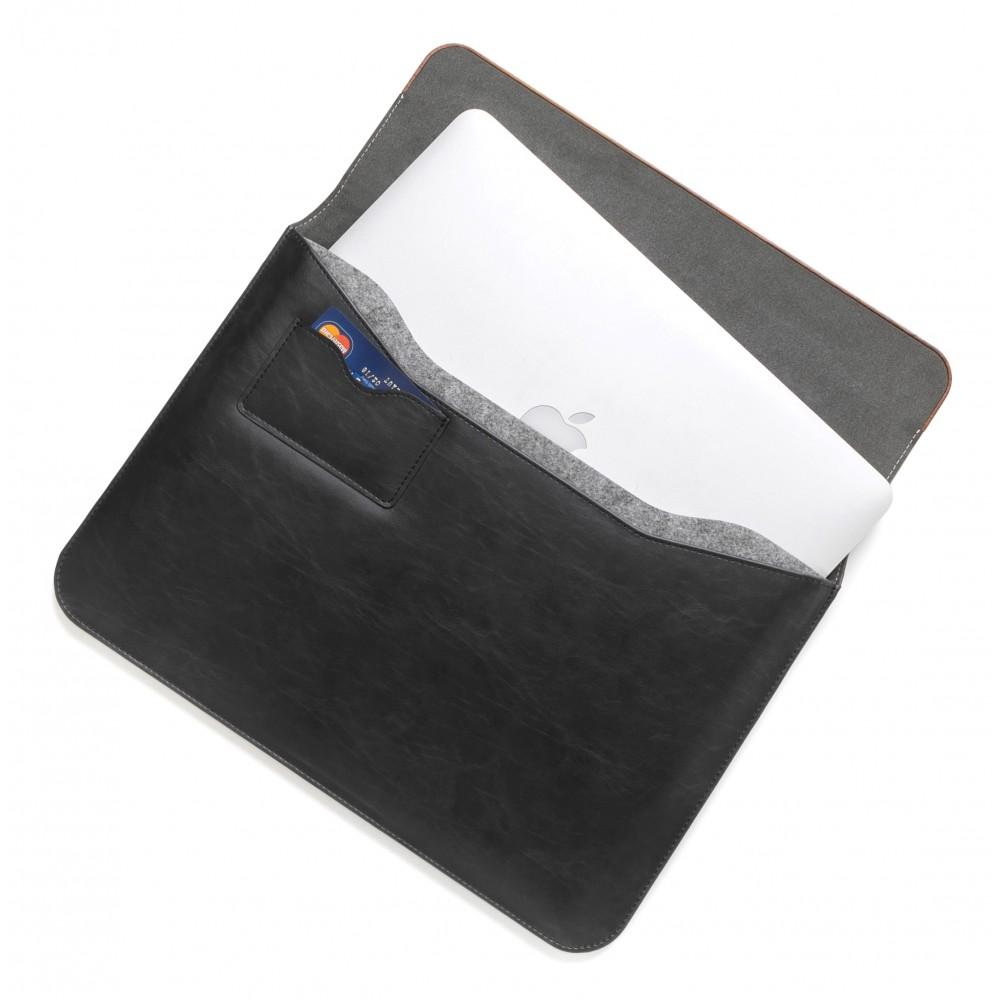 d80ab8acb6 ... Woodcessories - Noce / Pelle Nera / MacBook Cover - MacBook 15 Pro -  Custodia Eco ...