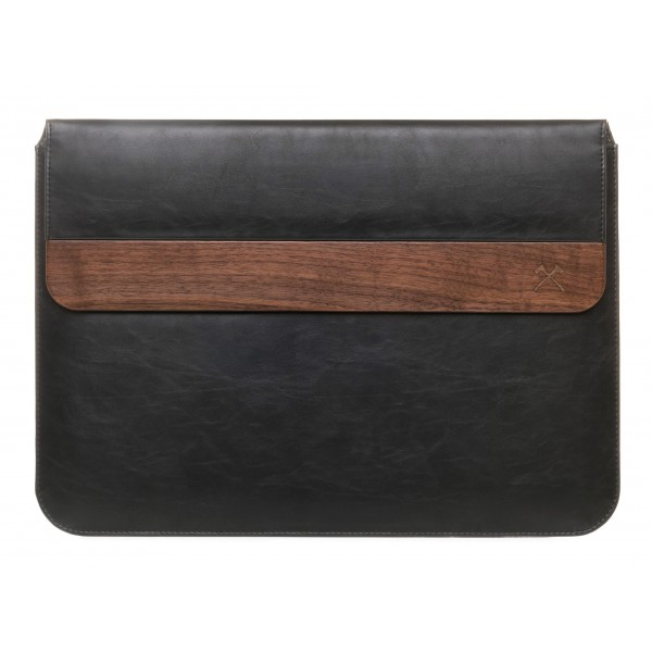 Woodcessories - Noce / Pelle Nera / MacBook Cover - MacBook 15 Pro Ret - Custodia Eco Pouch - Borsa MacBook in Legno