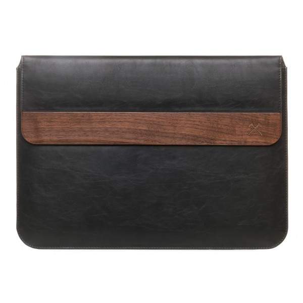 Woodcessories - Walnut / Black Leather / MacBook Bag - MacBook 15 Pro Ret Touchbar - Eco Pouch Case - Wooden MacBook Bag