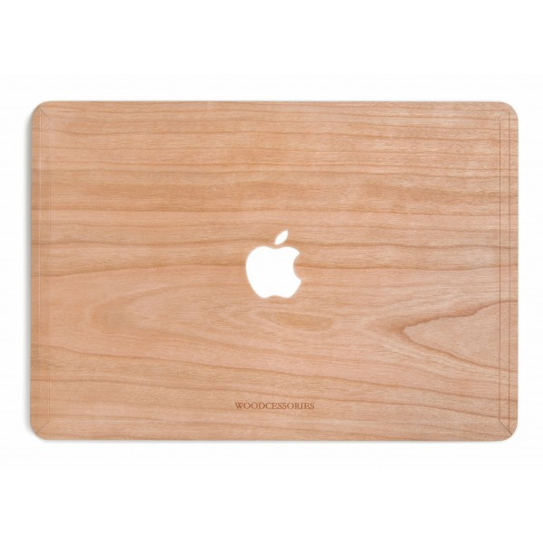 Woodcessories - Cherry / MacBook Skin Cover - MacBook 13 Pro Touchbar - Eco Skin - Apple Logo - Wooden MacBook Cover
