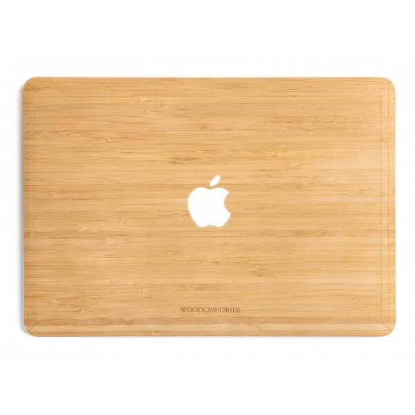 Woodcessories - Bamboo / MacBook Skin Cover - MacBook 15 Pro Touchbar - Eco Skin - Apple Logo - Wooden MacBook Cover