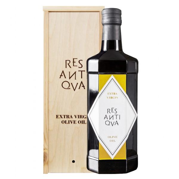 Res Antiqva - Bottiglia con Scatola in Legno - Olio Extravergine di Oliva Biologico Italiano - 500 ml