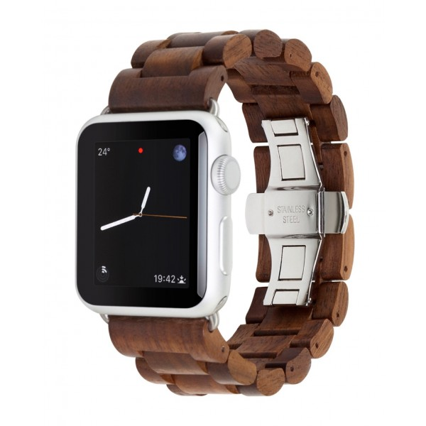 Woodcessories - Walnut / Silver - Wooden Apple Watch Band 42 mm - Eco Strap - Stainless Steel - Wooden Apple Watch Strap