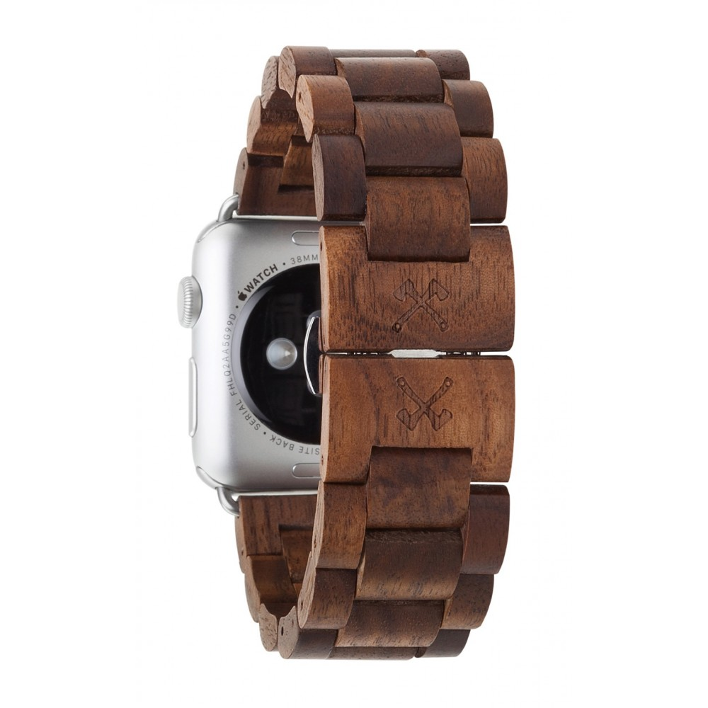 woodcessories 42mm  Woodcessories - Walnut / Silver - Wooden Apple Watch Band 42 mm ...