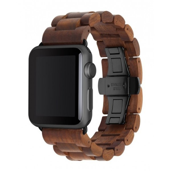 Woodcessories - Walnut / Black - Wooden Apple Watch Band 42 mm - Eco Strap - Stainless Steel - Wooden Apple Watch Strap