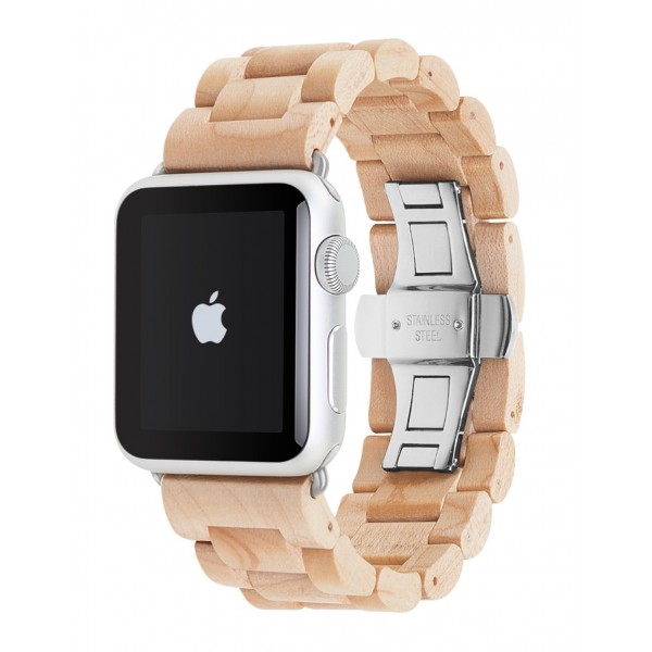 Woodcessories - Maple / Silver - Wooden Apple Watch Band 42 mm - Eco Strap - Stainless Steel - Wooden Apple Watch Strap