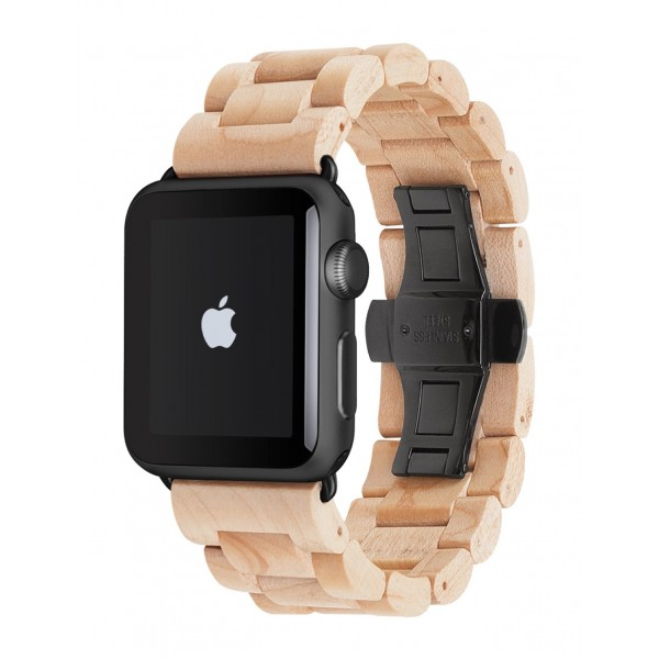 Woodcessories - Maple / Black - Wooden Apple Watch Band 42 mm - Eco Strap - Stainless Steel - Wooden Apple Watch Strap