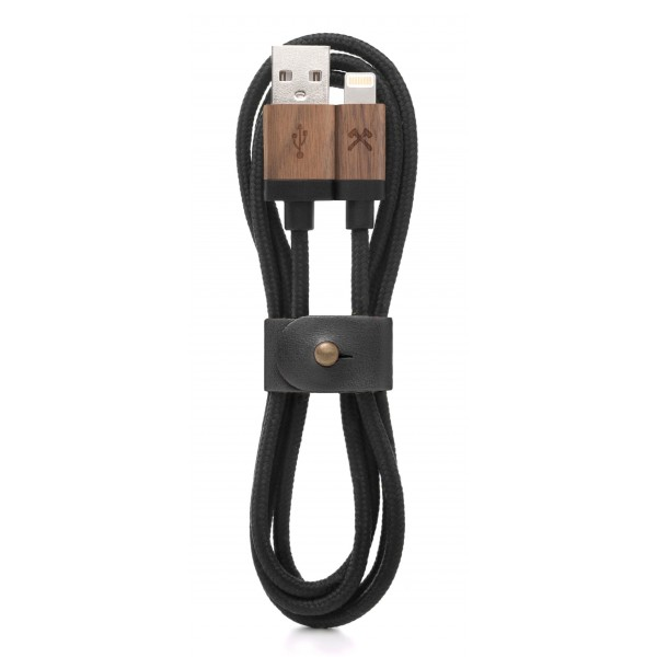 Woodcessories - Noce / Nero - Cavo Lightning Mfi in Legno 1,2 m - Eco Cable - Cavo Lighting USB Apple in Legno