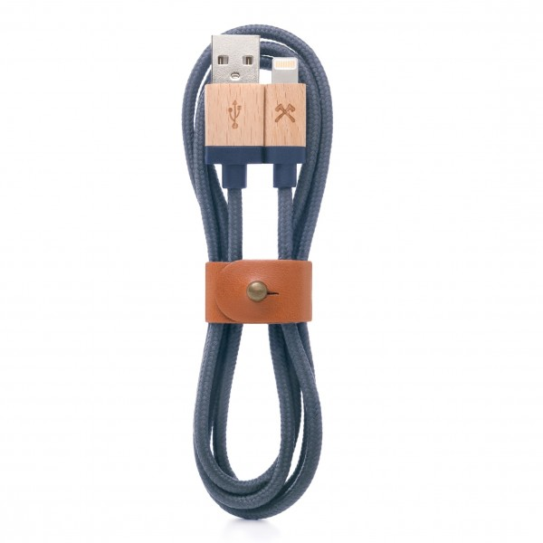 Woodcessories - Acero / Blu Navy - Cavo Lightning Mfi in Legno 1,2 m - Eco Cable - Cavo Lighting USB Apple in Legno
