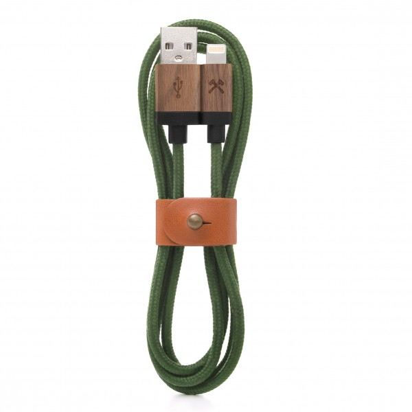 Woodcessories - Noce / Verde - Cavo Lightning Mfi in Legno 1,2 m - Eco Cable - Cavo Lighting USB Apple in Legno