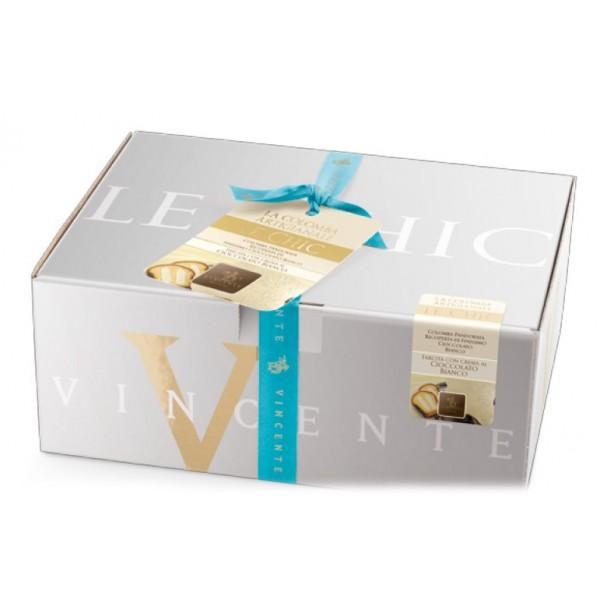 Vincente Delicacies - Colomba Artigianale - Finissimo Cioccolato Bianco con Crema al Cioccolato Bianco - Le Chic - Pacco Regalo