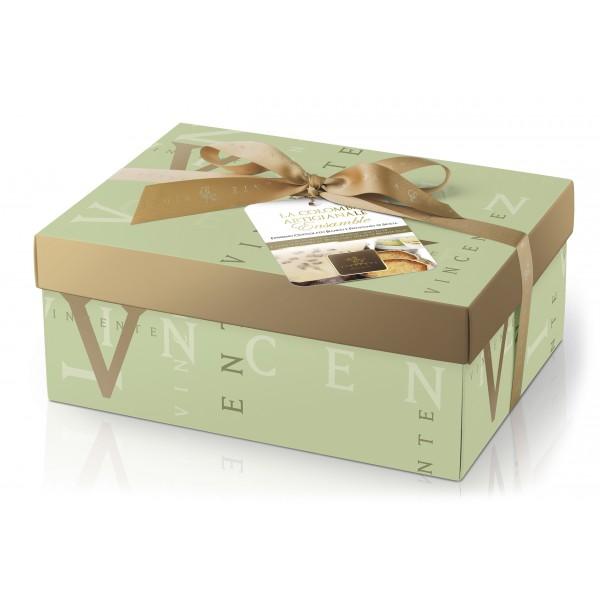 Vincente Delicacies - Colomba Artigianale - Cioccolato Bianco e Pistacchio Sicilia con Crema D.O.P. - Ensamble - Pacco Regalo