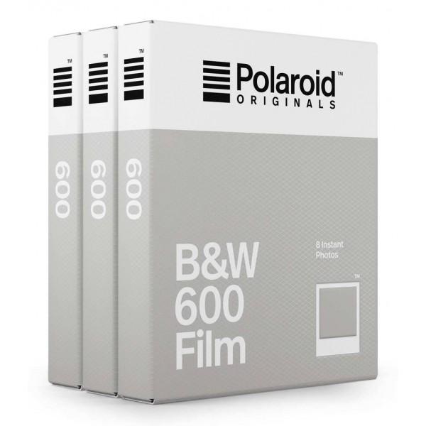 Polaroid Originals - Pacco Triplo Pellicole Blackout Bianco Nero 600 - Frame Bianco Classico - Film per 600 Camera - OneStep 2