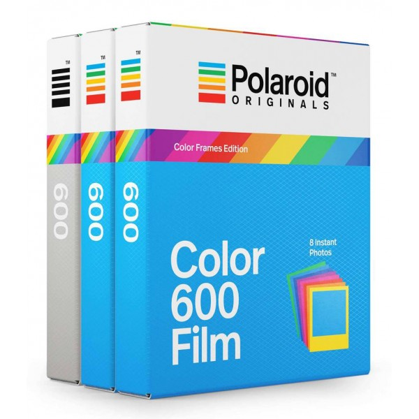 Polaroid Originals - Pacco Triplo Pellicole per 600 Rainbow - Frame Colorato - Film per Polaroid 600 Camera - OneStep 2