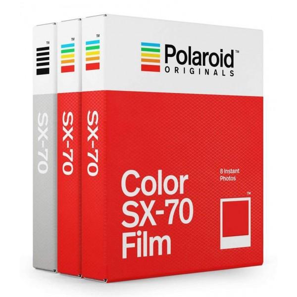Polaroid Originals - Pacco Triplo Pellicole Colorate per SX-70 - Frame Bianco Classico - Film per Polaroid SX-70 Camera