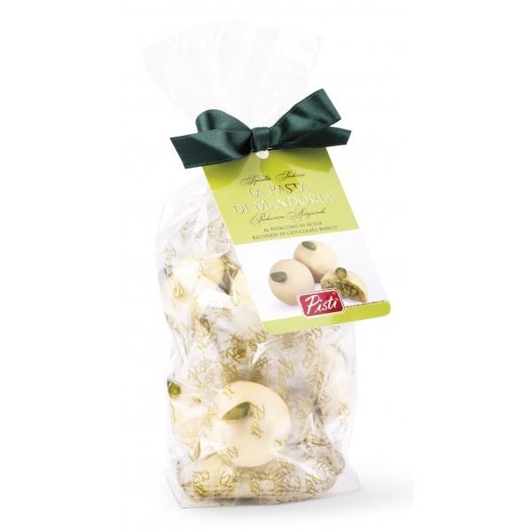 Pistì - Pasta di Mandorla Pistacchio Ricoperta di Cioccolato Bianco - Fine Pasticceria in Busta con Fiocco