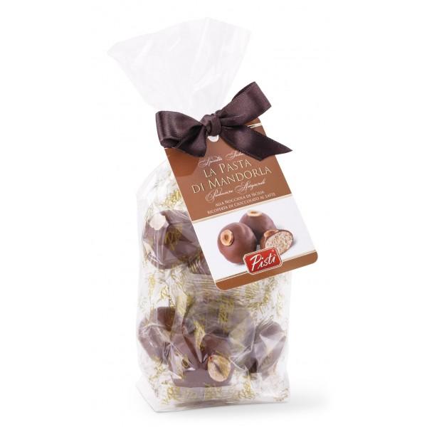 Pistì - Pasta di Mandorla Nocciola Ricoperta di Cioccolato al Latte - Fine Pasticceria in Busta con Fiocco