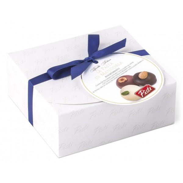Pistì - Paste di Mandorla Sicilia Assortite - Classiche, Nocciola, Pistacchio Ricoperte - Fine Pasticceria in Cofanetto Regalo