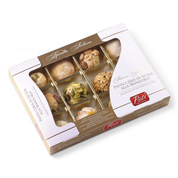 Pistì - Paste di Mandorla Sicilia Assortite - Classiche, Arancia e Pistacchio - Fine Pasticceria in Scatola Finestra Regalo