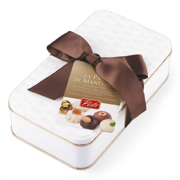 Pistì - Paste di Mandorla Sicilia Assortite - Ricoperte di Cioccolato - Fine Pasticceria in Scatola Regalo Blanca
