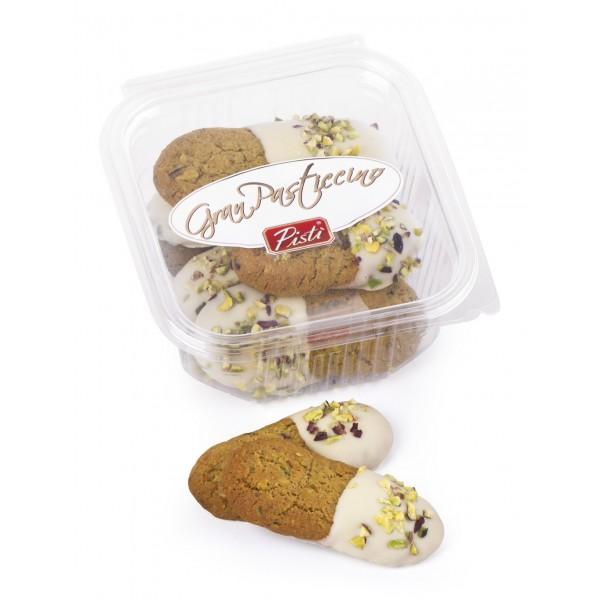 Pistì - Kuki - Paste di Mandorla di Sicilia al Pistacchio e Cioccolato Bianco - Fine Pasticceria in Vaschetta Apri e Chiudi