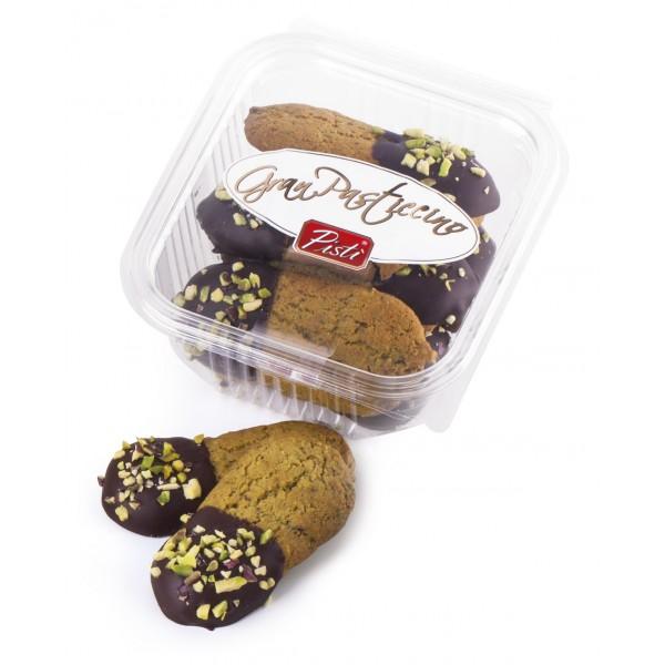 Pistì - Kuki - Paste di Mandorla di Sicilia al Pistacchio e Cioccolato Fondente 70% - Fine Pasticceria in Vaschetta