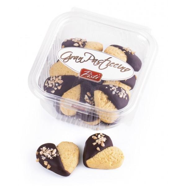 Pistì - Kuki a Cuore - Paste di Mandorla di Sicilia al Pistacchio e Cioccolato Fondente 70% - Fine Pasticceria in Vaschetta
