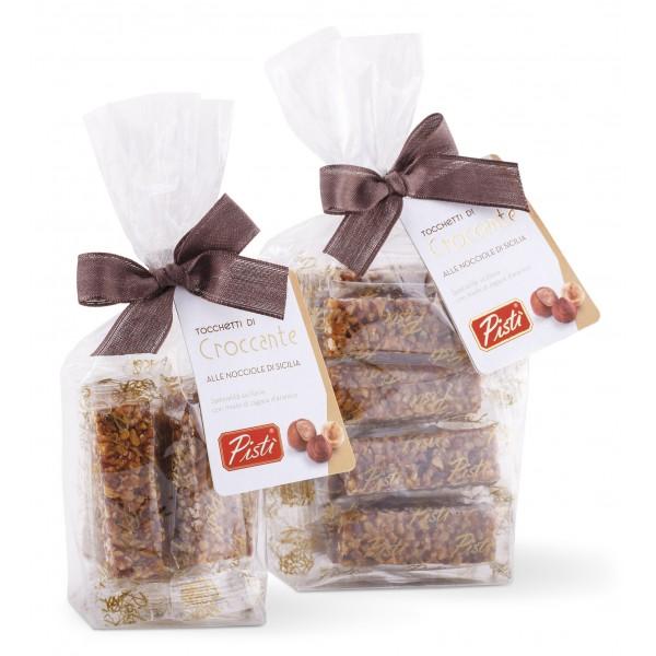 Pistì - Tocchetti di Croccante alle Nocciole di Sicilia - Fine Pasticceria in Busta con Fiocco - 100 g