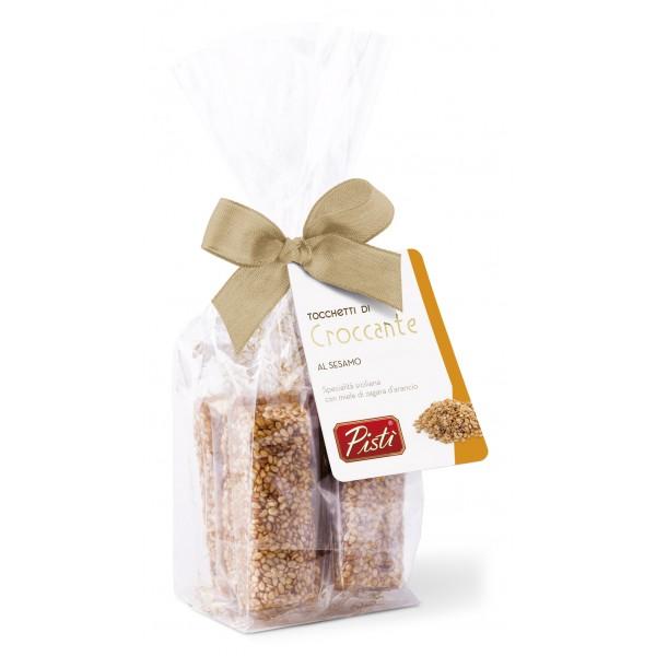 Pistì - Tocchetti di Croccante al Sesamo di Sicilia - Fine Pasticceria in Busta con Fiocco - 100 g