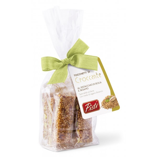 Pistì - Pieces of Crunchy with Sicilian Pistachio and Sesame - Fine Pastry in Envelope with Bow - 100 g