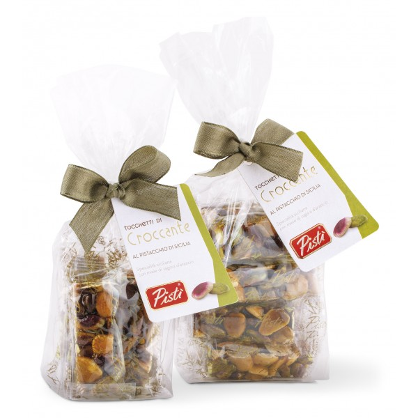 Pistì - Pieces of Crunchy with Sicilian Pistachio and Almonds - Fine Pastry in Envelope with Bow - 200 g