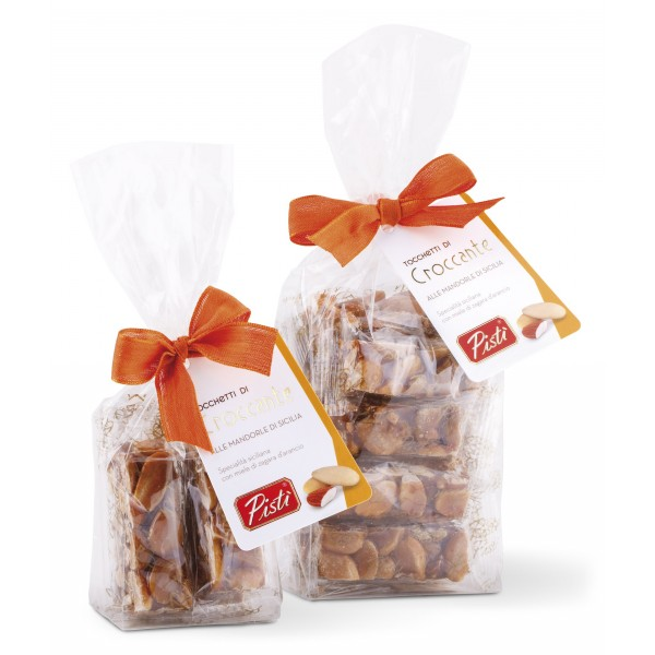 Pistì - Pieces of Crunchy with Sicilian Almonds - Fine Pastry in Envelope with Bow - 200 g