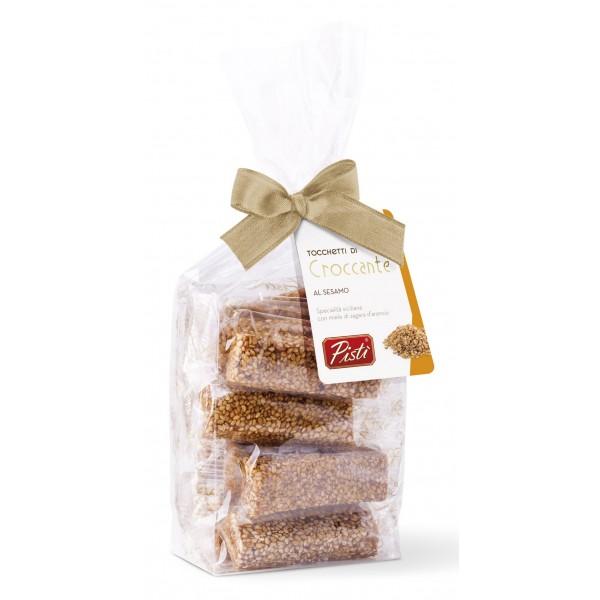 Pistì - Tocchetti di Croccante al Sesamo di Sicilia - Fine Pasticceria in Busta con Fiocco - 200 g