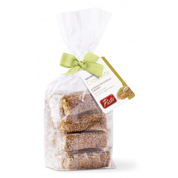 Pistì - Pieces of Crunchy with Sicilian Pistachio and Sesame - Fine Pastry in Envelope with Bow - 200 g