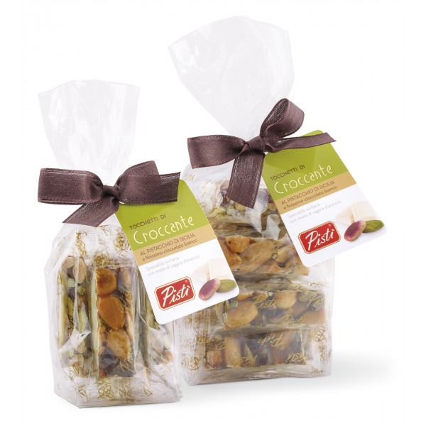Pistì - Pieces of Crunchy with Sicilian Pistachio and Almonds with White Chocolate - Fine Pastry in Envelope with Bow - 100 g