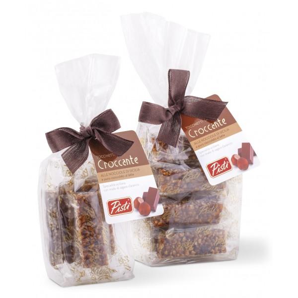 Pistì - Tocchetti di Croccante alle Nocciola di Sicilia al Cioccolato al Latte - Fine Pasticceria in Busta con Fiocco - 100 g