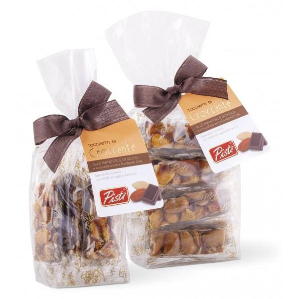 Pistì - Tocchetti di Croccante alle Mandorle di Sicilia al Cioccolato Fondente - Fine Pasticceria in Busta con Fiocco - 200 g