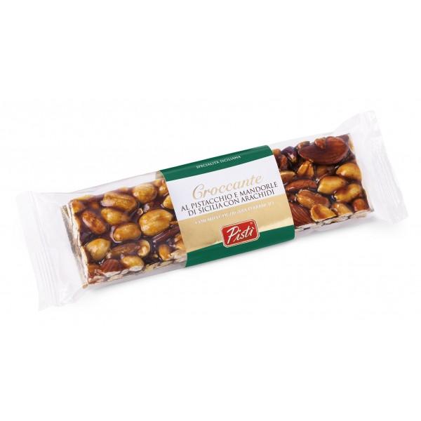 Pistì - Tocchetti di Croccante al Pistacchio e Mandorla di Sicilia con Arachidi - Fine Pasticceria in Flow Pack