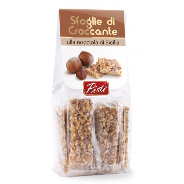 Pistì - Sfoglie di Croccante alle Nocciole di Sicilia - Fine Pasticceria in Busta con Cavaliere