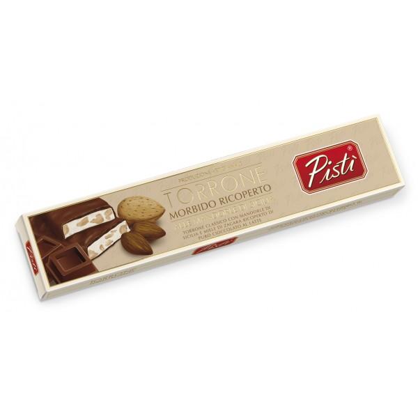 Pistì - Stecca di Torrone Morbido alla Mandorla di Sicilia Ricoperto al Cioccolato al Latte - Fine Pasticceria in Astuccio
