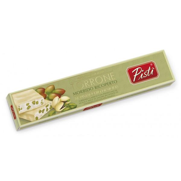 Pistì - Stecca di Torrone Morbido al Pistacchio di Sicilia Ricoperto al Cioccolato Bianco - Fine Pasticceria in Astuccio