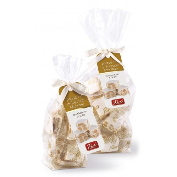 Pistì - Tocchetti di Torrone Morbido alle Mandorle di Sicilia - Fine Pasticceria in Busta con Fiocco - 100 g