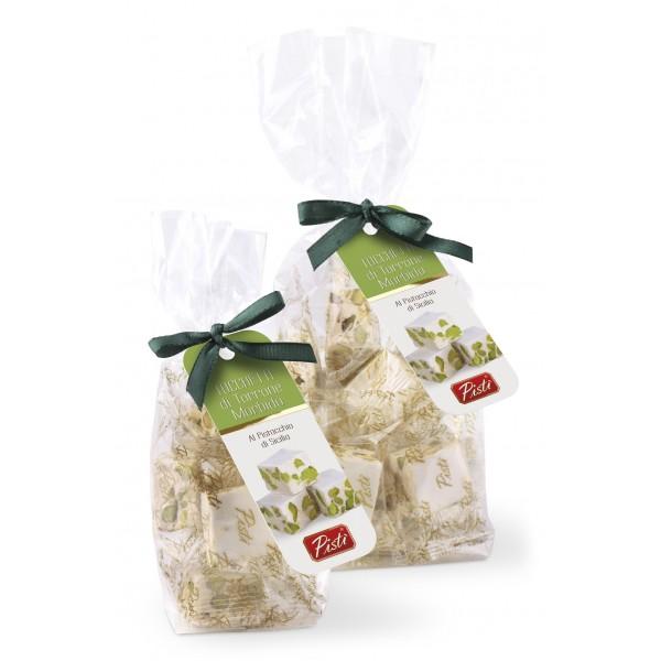 Pistì - Tocchetti di Torrone Morbido al Pistacchio di Sicilia - Fine Pasticceria in Busta con Fiocco - 200 g