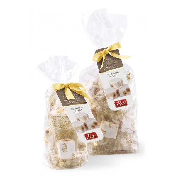 Pistì - Tocchetti di Torrone Morbido alle Nocciole di Sicilia - Fine Pasticceria in Busta con Fiocco - 200 g