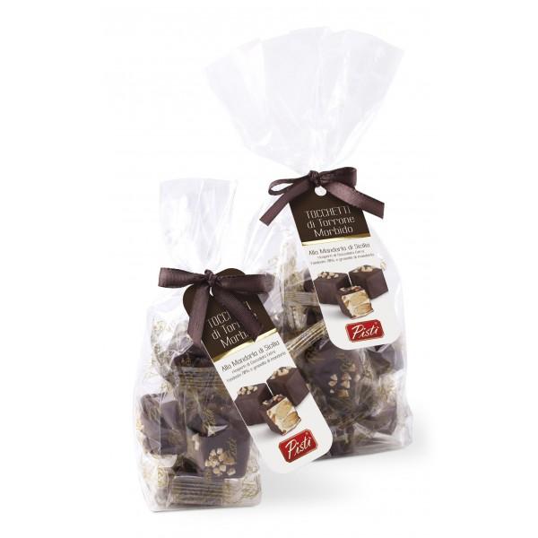 Pistì - Tocchetti di Torrone Morbido alle Mandorle di Sicilia con Cioccolato Fondente - Fine Pasticceria in Busta Fiocco - 100 g