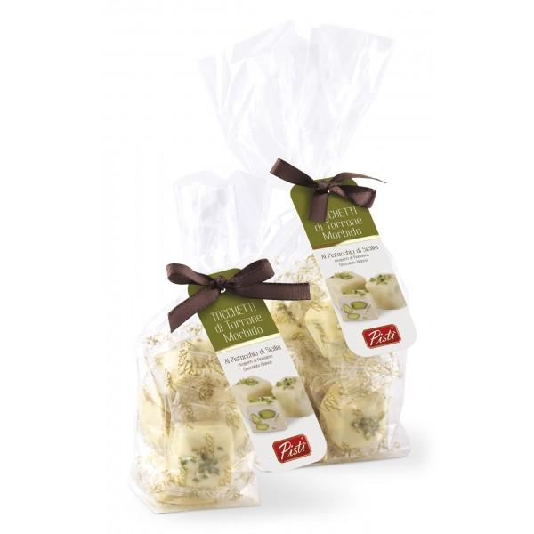 Pistì - Tocchetti di Torrone Morbido al Pistacchio di Sicilia con Cioccolato Bianco - Fine Pasticceria in Busta Fiocco - 100 g