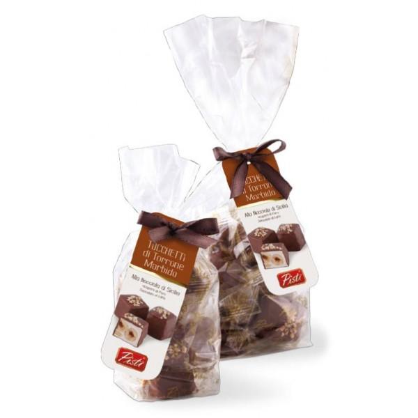 Pistì - Tocchetti di Torrone Morbido alle Nocciole di Sicilia con Cioccolato al Latte - Fine Pasticceria in Busta Fiocco - 100 g