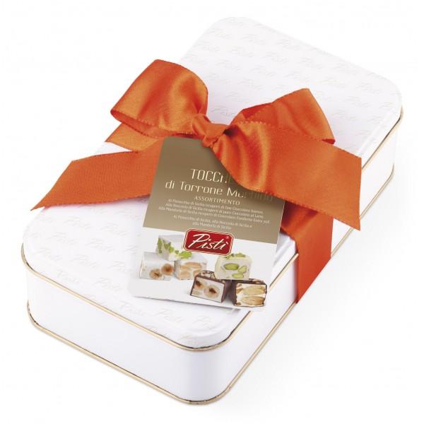 Pistì - Tocchetti di Torrone Morbido di Sicilia Assortiti - Fine Pasticceria in Confezione Regalo Blanca Box